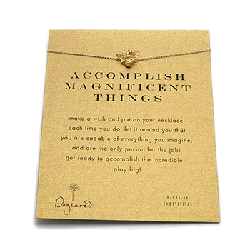 accomplish magnificent things reminder necklace with gold dipped bee : Dogeared Jewels and Gifts from dogeared.com