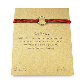 karma bracelet gold dipped on red irish linen : Dogeared Jewels and Gifts