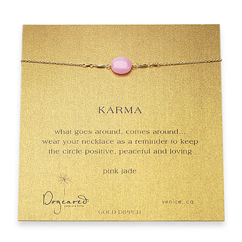 karma pink jade gemstone gold dipped necklace
