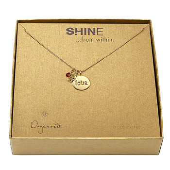 shine love necklace gold dipped --- love word disc, mini skull charm, and garnet gem