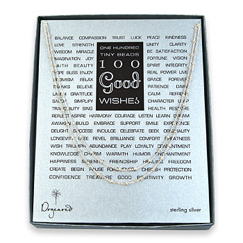 100 good wishes sterling silver beaded necklace