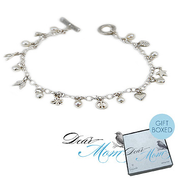 i am mom's favorite child sterling silver mini pearl charm bracelet : Dogeared Jewels and Gifts