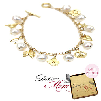 one in a million gold dipped pearl charm bracelet : Dogeared Jewels and Gifts :  heart four leaf clover gold dipped wishbone