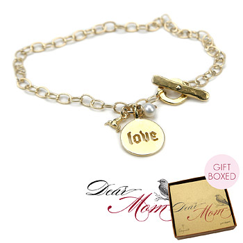 love makes the world go round gold dipped pearl charm bracelet : Dogeared Jewels and Gifts