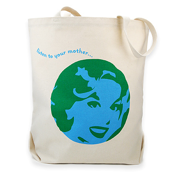 listen to your mother reusable tote bag : Dogeared Jewels and Gifts :  earth day blue canvas totes canvas