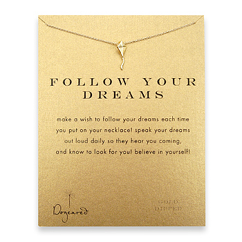 follow your dreams reminder necklace with gold dipped kite : Dogeared Jewels and Gifts