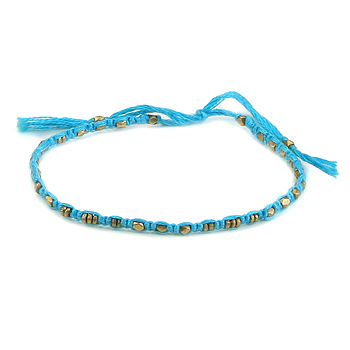 friendship bracelet with brass beads on aqua thread