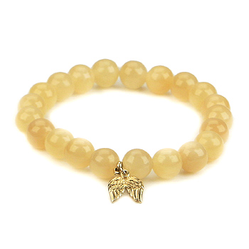 yellow jade small goddess bracelet with angel wings