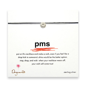 pms make a wish necklace with sterling silver smiley face on black : Dogeared Jewels and Gifts