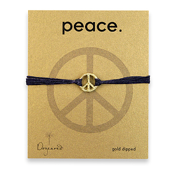 medium textured peace bracelet gold dipped on ocean irish linen : Dogeared Jewels and Gifts :  dogeared jewels and gifts navy blue peace gold dipped