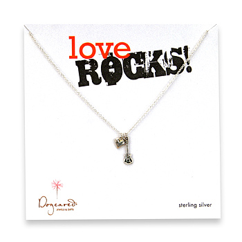 sterling silver love rocks necklace with oxidized cupid heart and guitar - 18 inch : Dogeared Jewels and Gifts