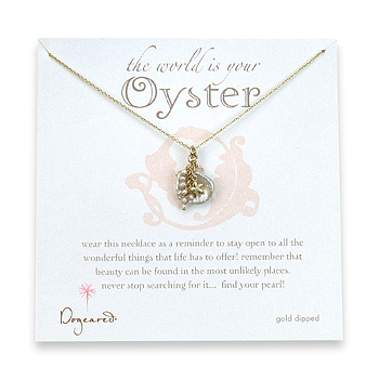 the world is your oyster keshi and rice pearl gold dipped necklace - 20 inch : Dogeared Jewels and Gifts :  dogeared jewels and gifts world is your oyster gold chain gold dipped
