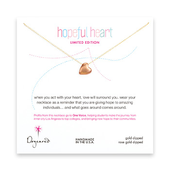 limited edition hopeful heart gold dipped necklace with rose gold heart bead