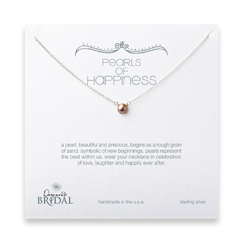 bridal pearls of happiness rose pearl necklace, sterling silver