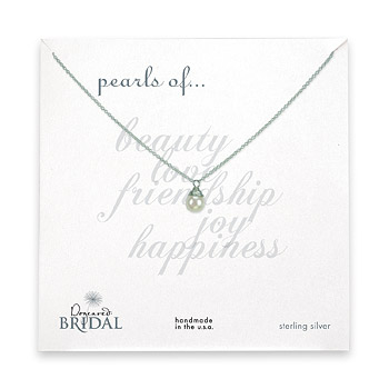 bridal wrapped white pearl sterling silver reminder necklace
