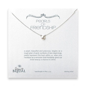 bridal pearls of friendship white pearl necklace, sterling silver - 18 inches