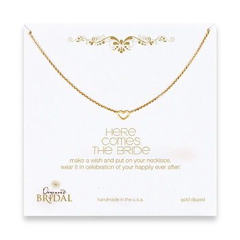 bridal here comes the bride heart necklace, gold dipped - 18 inches