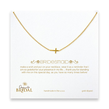 bridal+sideways+cross+bridesmaid+necklace%2C+gold+dipped