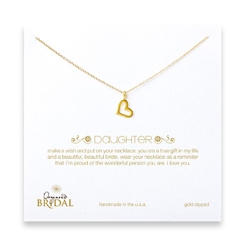 bridal daughter loving heart necklace, gold dipped