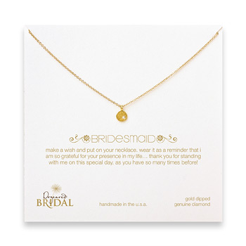 bridal circle diamond bridesmaid necklace, gold dipped
