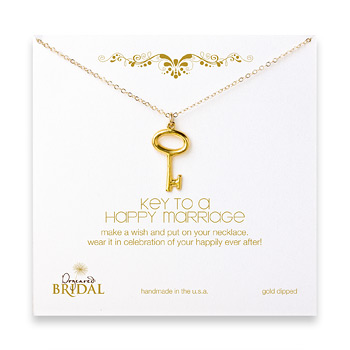 bridal key to a happy marriage key necklace, gold dipped - 18 inches