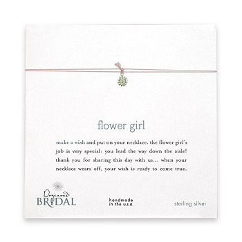 flower girl make a wish bridal necklace with sterling silver small daisy on pink