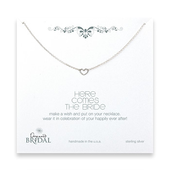bridal+here+comes+the+bride+heart+necklace%2C+sterling+silver+-+18+inches