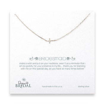 bridal sideways bridesmaid neckalce, sterling silver