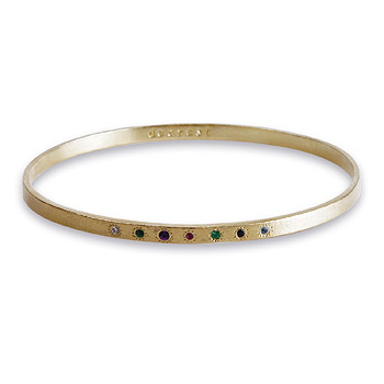 bridal dearest gold dipped gemstone engraved bangle