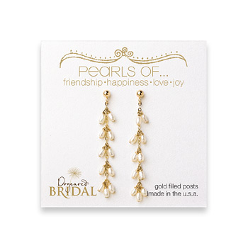 bridal+dangling+pearl+gold+dipped+earrings