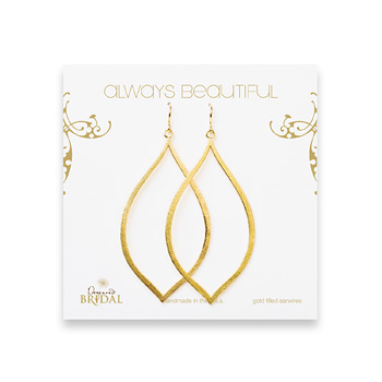 bridal earrings, always beautiful eye, gold dipped