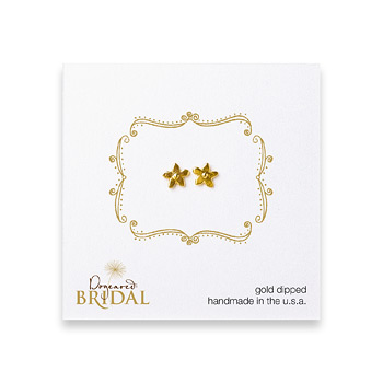 bridal+cherry+blossom+stud+earrings%2C+gold+dipped