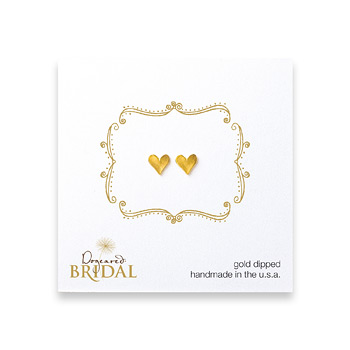 bridal heart stud earrings, gold dipped