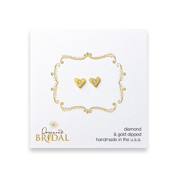bridal+heart+diamond+stud+earrings%2C+gold+dipped