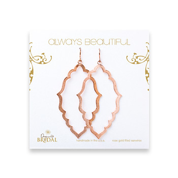 bridal earrings, always beautiful moroccan, rose gold dipped