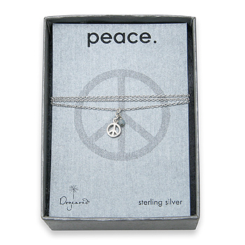peace seed sterling silver necklace with tiny peace sign and amazonite gem