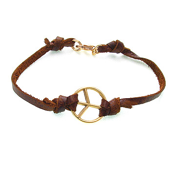 peace bracelet gold dipped on earth leather