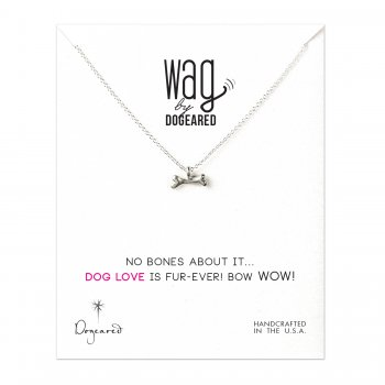 wag dog bone necklace, sterling silver