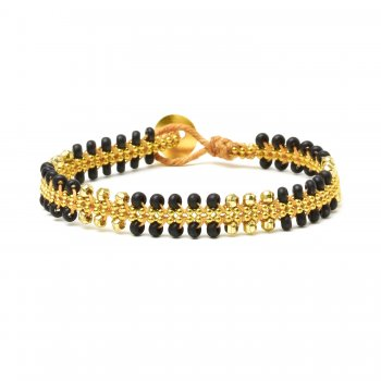 gifts to go collection gold dipped chain &amp; parallel ebony bead bracelet
