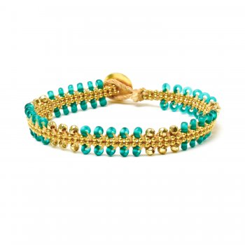 gifts to go collection gold dipped chain & parallel emerald bead bracelet