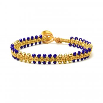 gifts+to+go+collection+gold+dipped+chain+%26+parallel+navy+bead+bracelet