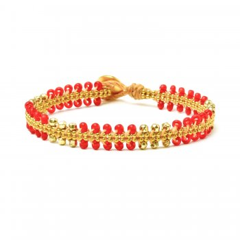 gifts to go collection gold dipped chain & parallel scarlet bead bracelet
