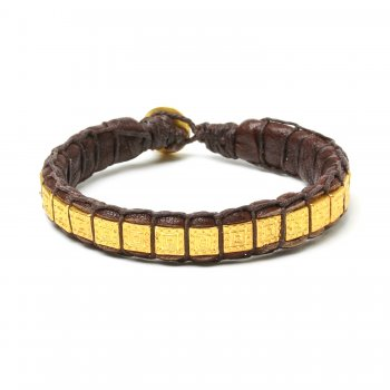 gifts to go collection gold dipped square bead & chocolate leather bracelet
