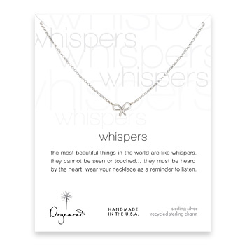 whispers bow necklace, sterling silver