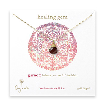 healing+gem+briolette+garnet+necklace%2C+gold+dipped