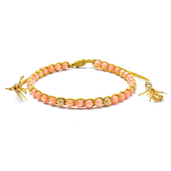pink+coral+healing+gem+bracelet+with+gold+dipped+stardust+beads+and+tassel