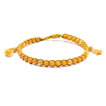 yellow jasper healing gem bracelet with gold dipped stardust beads and tassel