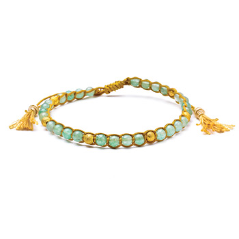 aventurine+healing+gem+bracelet+with+gold+dipped+stardust+beads+and+tassel