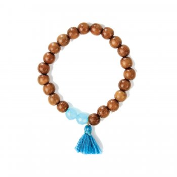 you are a gem teak wood and turquoise quartz bracelet