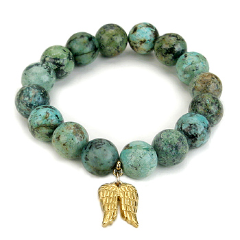 turquoise large goddess bracelet with angel wings